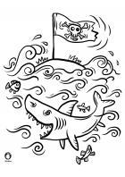 Omalovánky - piráti - žralok
