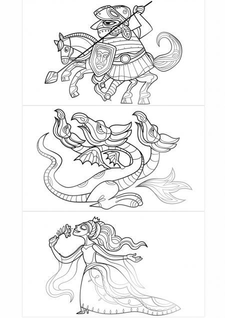 Loutkové divadlo - drak, rytíř a princezna